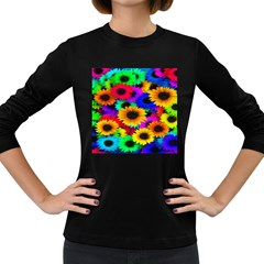 Colorful Sunflowers Women s Long Sleeve T-shirt (Dark Colored)