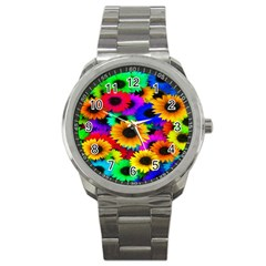 Colorful Sunflowers Sport Metal Watch