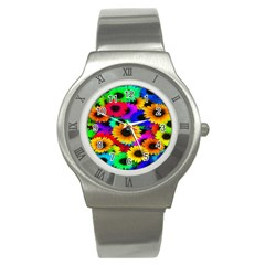 Colorful Sunflowers Stainless Steel Watch (slim)