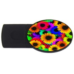 Colorful Sunflowers 4gb Usb Flash Drive (oval)