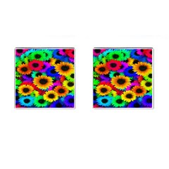 Colorful Sunflowers Cufflinks (Square)