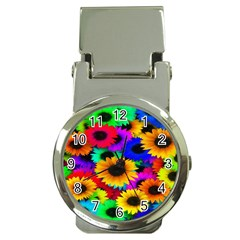 Colorful Sunflowers Money Clip with Watch