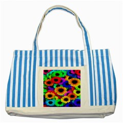 Colorful Sunflowers Blue Striped Tote Bag