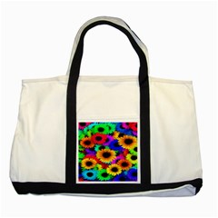 Colorful Sunflowers Two Toned Tote Bag