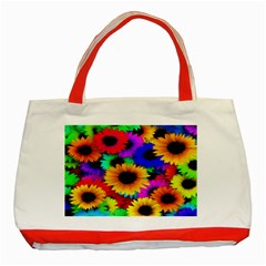 Colorful Sunflowers Classic Tote Bag (red)