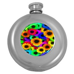 Colorful Sunflowers Hip Flask (round)