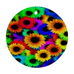 Colorful Sunflowers Round Ornament (Two Sides)