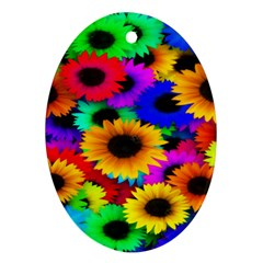 Colorful Sunflowers Oval Ornament (two Sides)