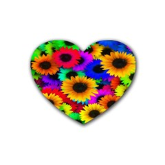 Colorful Sunflowers Drink Coasters (Heart)