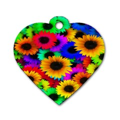 Colorful Sunflowers Dog Tag Heart (One Sided)