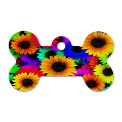 Colorful Sunflowers Dog Tag Bone (Two Sided)