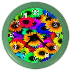 Colorful Sunflowers Wall Clock (Color)