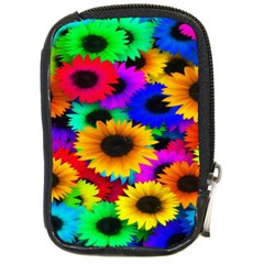 Colorful Sunflowers Compact Camera Leather Case