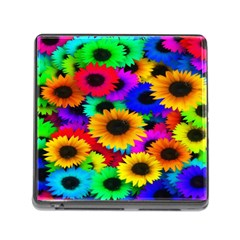 Colorful Sunflowers Memory Card Reader with Storage (Square)