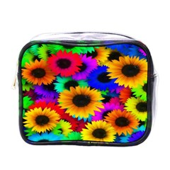 Colorful Sunflowers Mini Travel Toiletry Bag (One Side)