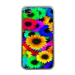 Colorful Sunflowers Apple Iphone 4 Case (clear)