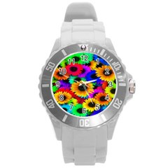 Colorful Sunflowers Plastic Sport Watch (large)