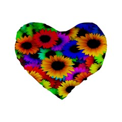 Colorful Sunflowers 16  Premium Heart Shape Cushion