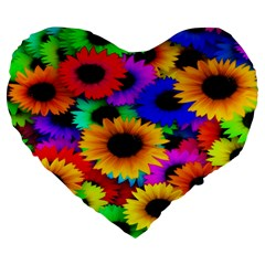 Colorful Sunflowers 19  Premium Heart Shape Cushion