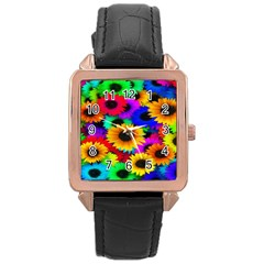 Colorful Sunflowers Rose Gold Leather Watch