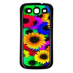 Colorful Sunflowers Samsung Galaxy S3 Back Case (Black)