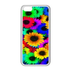 Colorful Sunflowers Apple Iphone 5c Seamless Case (white)