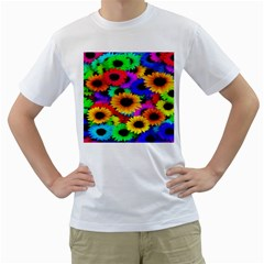Colorful Sunflowers Men s T Shirt (white)