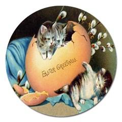 Vintage Easter Magnet 5  (Round)