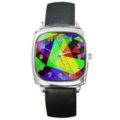 Moderne Square Leather Watch