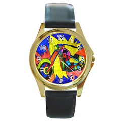 Chopper Round Leather Watch (gold Rim)