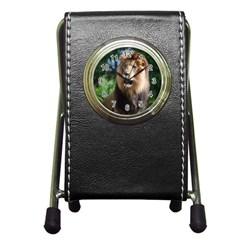 Regal Lion Stationery Holder Clock
