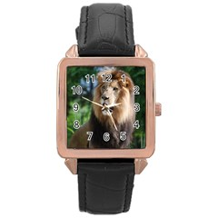 Regal Lion Rose Gold Leather Watch