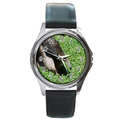 Giant Anteater Round Leather Watch (Silver Rim)