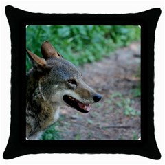 Red Wolf Black Throw Pillow Case