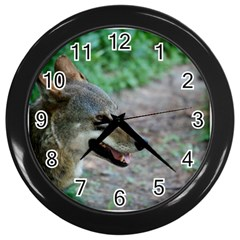 Red Wolf Wall Clock (black)