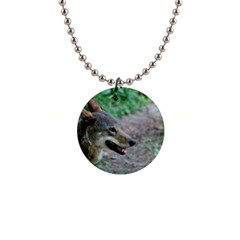 Red Wolf Button Necklace
