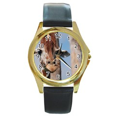 Cute Giraffe Round Leather Watch (Gold Rim)