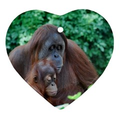 Orangutan Family Heart Ornament