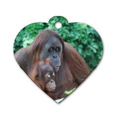 Orangutan Family Dog Tag Heart (two Sided)