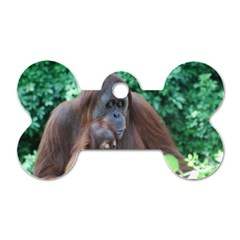 Orangutan Family Dog Tag Bone (Two Sided)