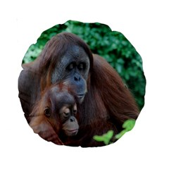 Orangutan Family 15  Premium Round Cushion