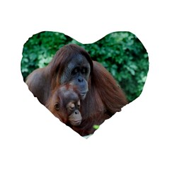 Orangutan Family 16  Premium Heart Shape Cushion