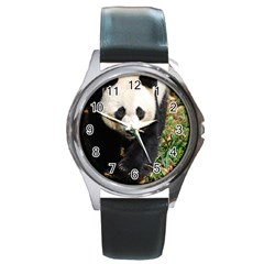 Giant Panda Round Leather Watch (silver Rim)