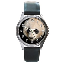 Adorable Panda Round Leather Watch (Silver Rim)
