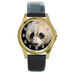 Adorable Panda Round Leather Watch (gold Rim)
