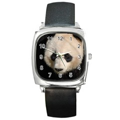 Adorable Panda Square Leather Watch