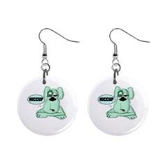 Irish Drunk Green Dog 0 Mini Button Earrings