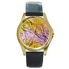 Branches Round Leather Watch (gold Rim)
