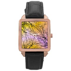 Branches Rose Gold Leather Watch