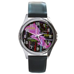 Pain Pain Go Away Round Leather Watch (Silver Rim)